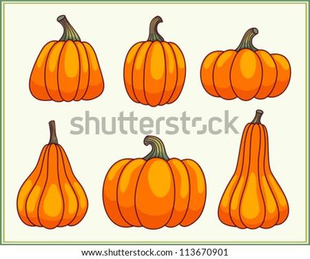Set of six pumpkins in a green frame. Vector cartoon illustration. - stock vector
