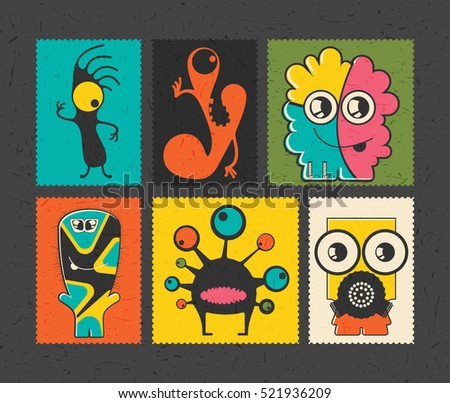 Set of six retro postage`s stamp with funny monsters on different color background, . Cartoon illustration.