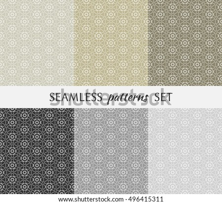 Set of six seamless geometric patterns. Endless repeating texture in arabian style. Seamless line pattern, ethnic ornament. Isolated seamless geometric lace backgrounds. Monochrome and pastel colors