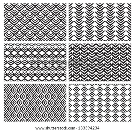Set Of Six Simple Geometric Patterns In Vector