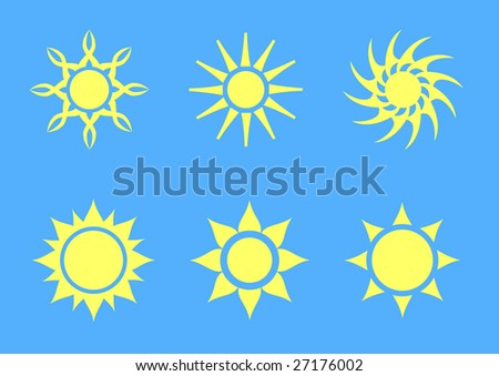 set of six simple vector suns - stock vector