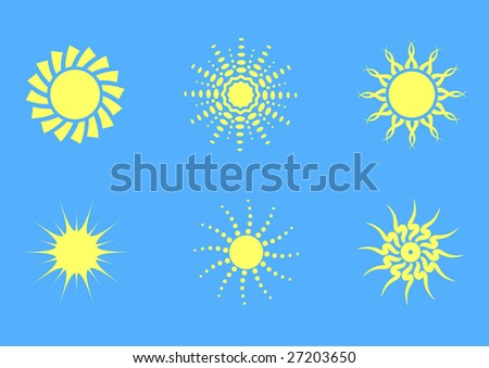 set 2 of six simple vector suns - stock vector
