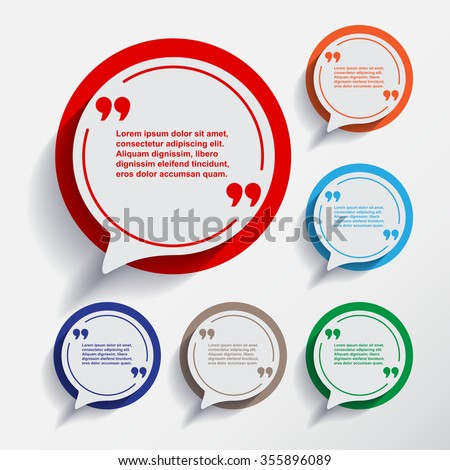 Set of six speech information bubbles for design. Quotes and brackets. Vector illustration. Message typography. Flat design with Long shadow