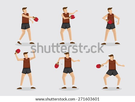 Set of six vector cartoon character of a table tennis sportsman in action with ping pong ball and bat isolated on plain background. - stock vector