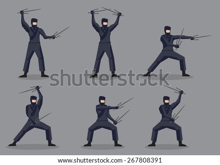 Set of six vector cartoon character of Japanese ninja in black suit and mask with traditional martial arts weapon, sai, isolated on grey background. - stock vector