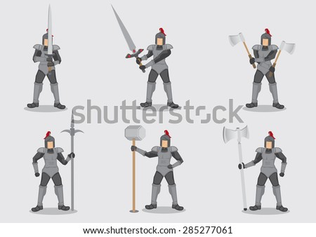 Set of six vector cartoon illustration of medieval knight warrior in armor holding different weapons isolated on plain background. - stock vector