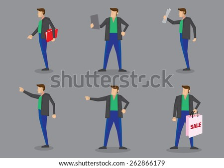 Set of six vector character of a modern man wearing stylish green shirt, blue trousers and black jacket standing in different poses and gestures isolated on plain grey background. - stock vector