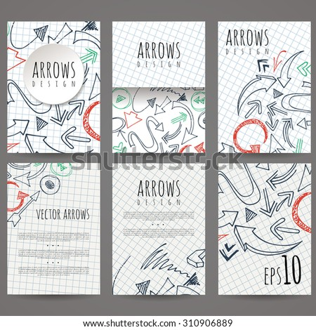 Set of six vector designs of hand-drawn arrow. Cover design, brochures, leaflets, business cards, magazine, flyers, leaflets, stickers. EPS10 - stock vector