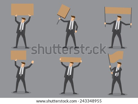 Set of six vector icons of businessman in black suit holding blank placard with copy space isolated on grey background - stock vector