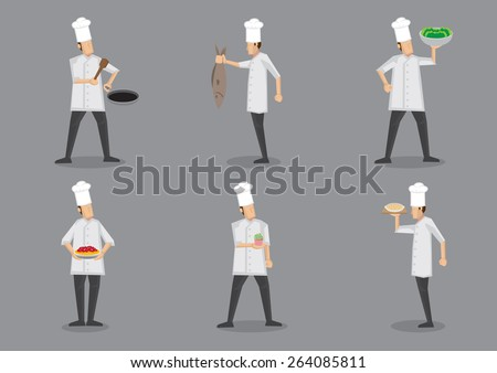 Set of six vector illustration of cartoon chef in white uniform and toque serving food with pride isolated on grey background. - stock vector