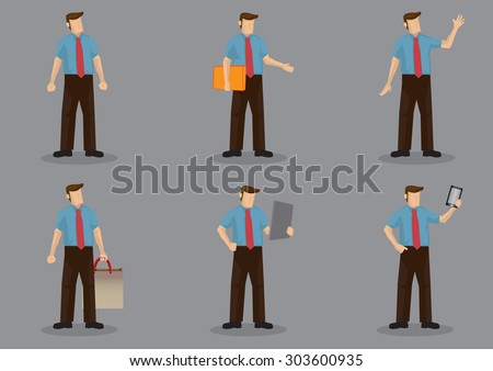 Set of six vector illustration of cartoon office personnel wearing necktie with short sleeves shirt in different poses isolated on grey background. - stock vector