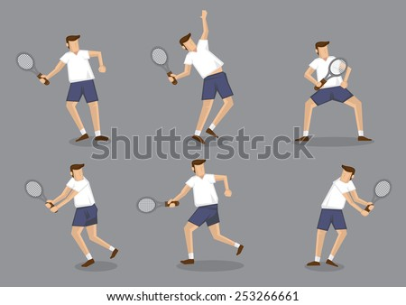 Set of six vector illustration of man character holding tennis racquet and striking different posses isolated on grey background  - stock vector