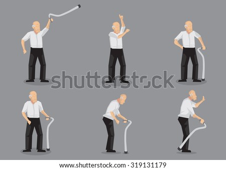 Set of six vector illustrations of blading old man cartoon character holding a walking stick in various gestures and poses isolated on grey background. - stock vector