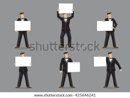 Set of six vector illustrations of cartoon man character in formal black suit with bow tie holding blank sign board with copy space isolated on grey background. - stock vector