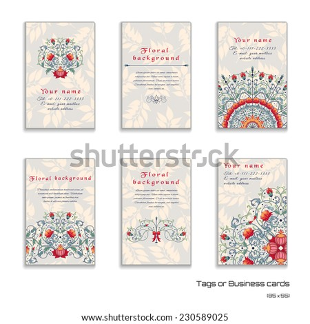 Set of six vertical business cards. Fantasy flowers. Delicate ornament with leaves. Place for your text. Complied with the standard sizes. - stock vector