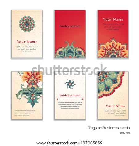 Set of six vertical business cards or tags. Beautiful floral pattern in oriental style. Simple delicate ornament. Place for your text.  - stock vector