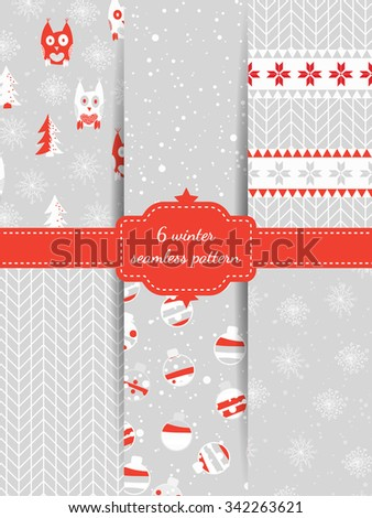 Set of six winter seamless patterns with owls, fir-tree, snow, snowflakes, nordic sweater texture, christmas balls. Christmas theme. Design for fabric. - stock vector