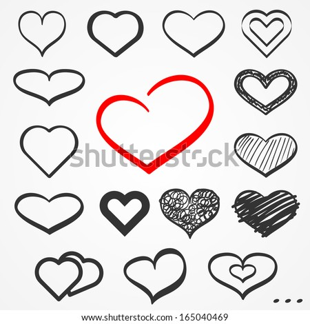 Set of sixteen abstract sketch hand drawn hearts - stock vector