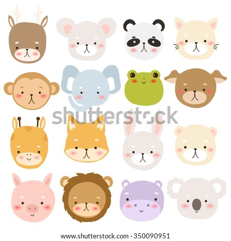 set of sixteen cute cartoon animal character on white background. cute deer, mouse, panda, cat, monkey, elephant, frog, dog, giraffe, fox, rabbit, bear, pig, lion, hippo and koala - stock vector