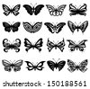 Set of sixteen different black and white beautiful butterflies. Hand drawing vector illustration - stock vector
