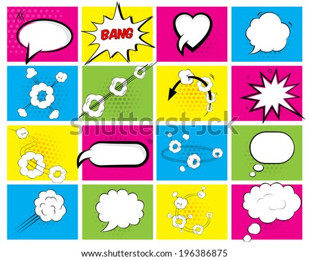 Set of sixteen different brightly colored vector speech bubbles with an oval  heart  explosion  cloud and motion depicting conversation and thought for web or print - stock vector