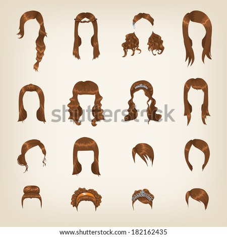 Set of sixteen different brown hairstyles for women - stock vector