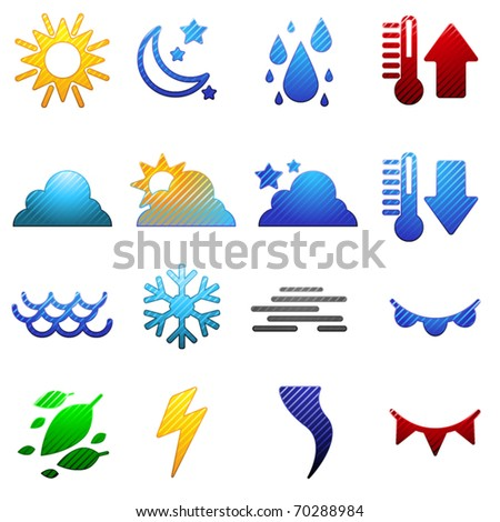 Set of sixteen different striped weather symbols