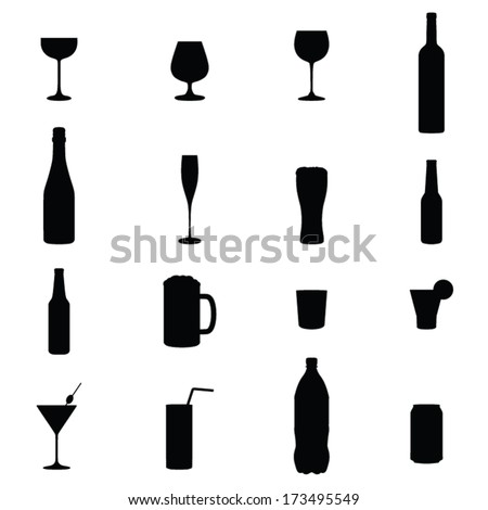 Set Of Sixteen Drinks Black Silhouette Vector Illustrations  - stock vector