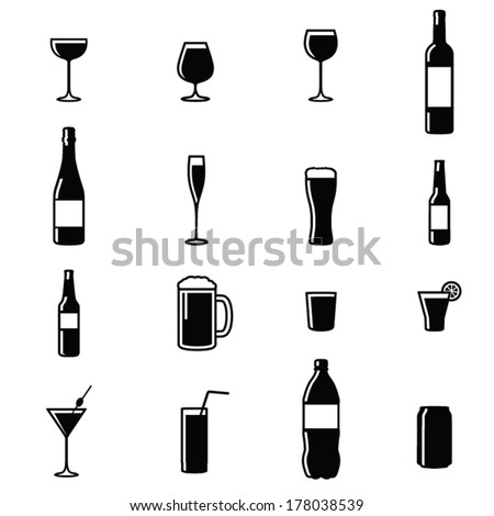 Set Of Sixteen Drinks Black & White Silhouette Vector Illustrations - stock vector