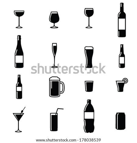 Set Of Sixteen Drinks Black & White Silhouette Vector Illustrations - stock vector
