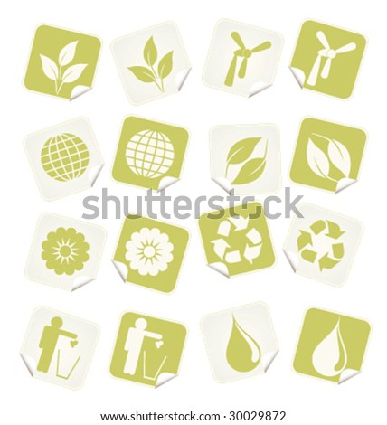 Set of ( 16 ) Sixteen Eco vector stickers