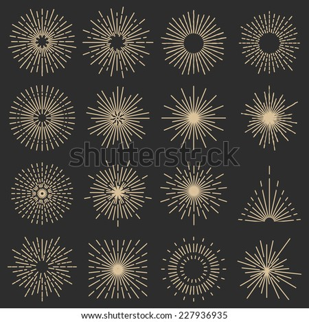 Set of sixteen line light rays. Vintage frames, shapes and design elements - stock vector