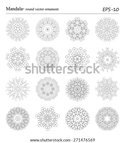Set of sixteen Mandala -round vector ornaments on white background. Vintage decorative geometric circle objects. Hand drawn spiritual and meditation elements. Islam, Arabic, Indian, ottoman motifs. - stock vector