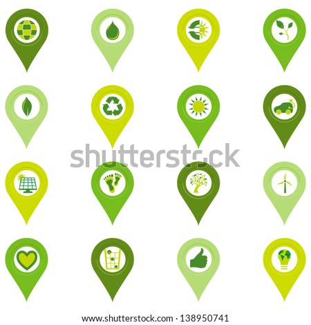 Set of sixteen pinpoint icons of bio eco environmental related symbols in four shades of green - stock vector