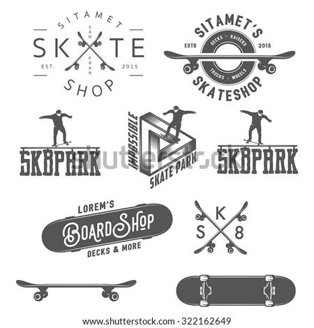 Set of skateboarding labels, badges and design elements - stock vector