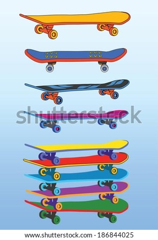 set of skateboards - stock vector