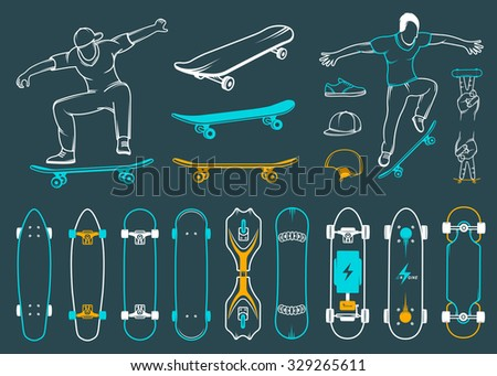 Set of skateboards and skateboarding of equipment, clothing, protection, and elements of street style. Silhouettes tricks skateboarders, and big collection symbols skateboards - stock vector