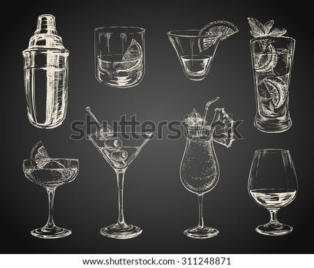 Set of sketch cocktails and alcohol drinks black background - stock vector