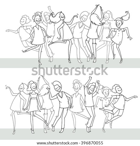 Set of sketch dancing people in different poses on the dance floor. Doodle collection of cartoon dancers, women and men funny characters. Hand drawn vector illustration isolated on white background. - stock vector
