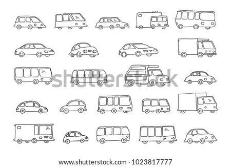 Set of sketch different transparent cars buses and trucks Hand drawn black line vector stock illustration.