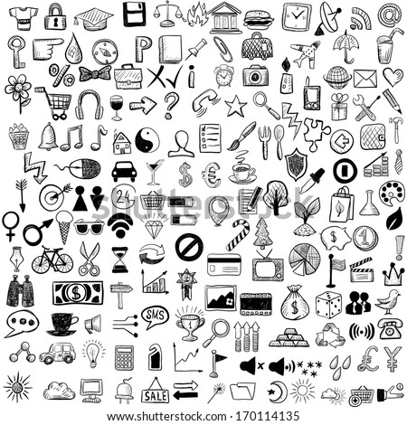 Set of sketch icons for site or mobile application - stock vector