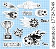 Set of sketch soccer stickers - stock