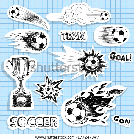 Set of sketch soccer stickers - stock vector