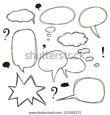 Set of sketch style speech bubbles. Vector illustration.