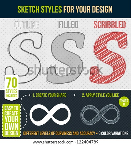 Set of sketch styles for your design - stock vector