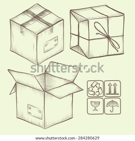 set of sketched design elements, package boxes and symbols