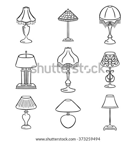 Set Sketched Table Lamps Lampshades Vector Stock Vector