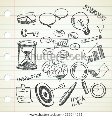set of sketchy business doodle - stock vector
