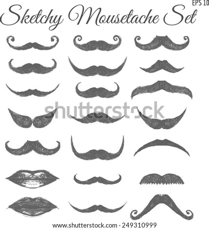 Set of Sketchy Vintage Vector Mousctaches for Barbers and Hipsters.