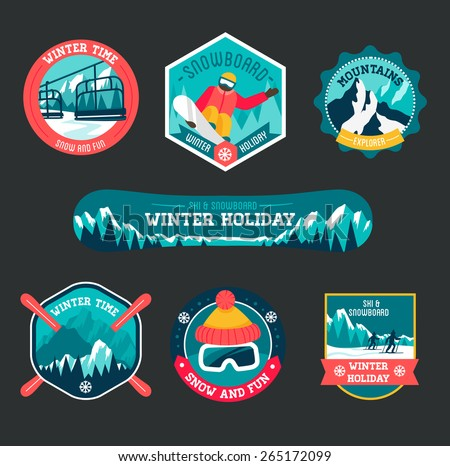Set of ski and snowboard badges  - stock vector